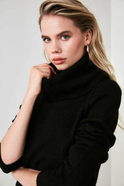 Women's Turtleneck Black Tricot Sweater - Colorful Wings