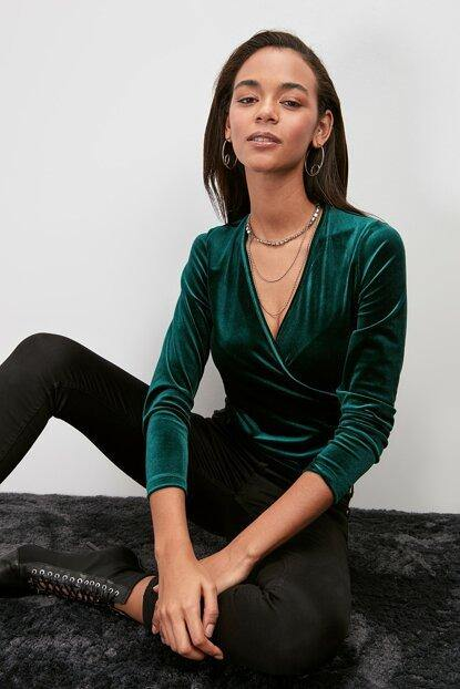 Women's Wrap Collar Emerald Green Blouse - Colorful Wings