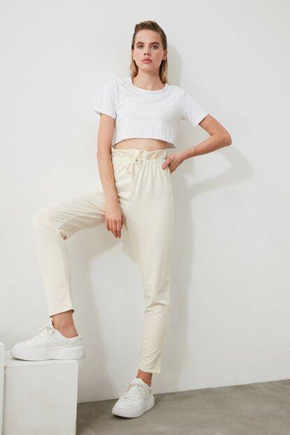 Women's Basic White Sweatpants - Colorful Wings
