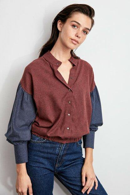Women's Claret Red Crop Blouse - Colorful Wings