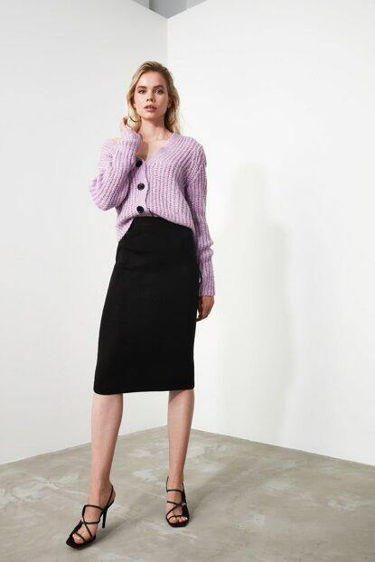 Women's Black Pencil Tricot Skirt - Colorful Wings