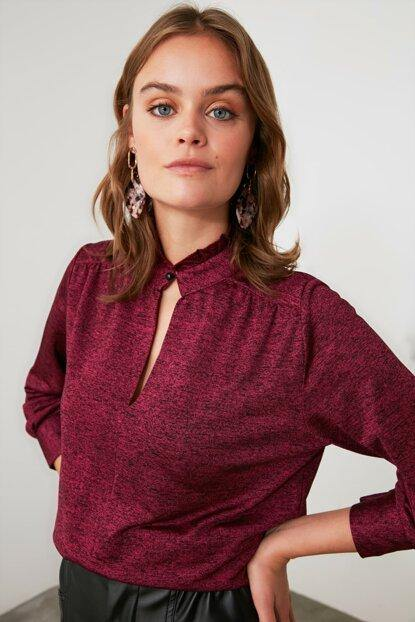 Women's Stand-up Collar Claret Red Blouse - Colorful Wings
