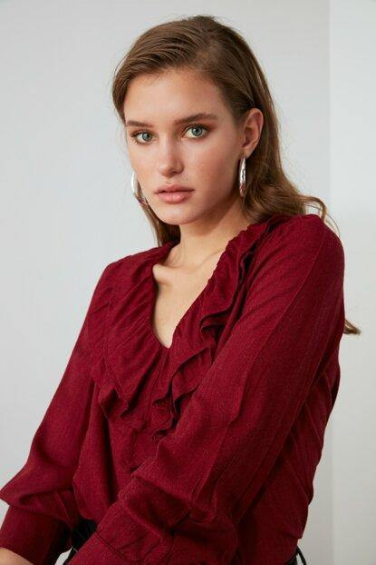 Women's Frill Claret Red Blouse - Colorful Wings