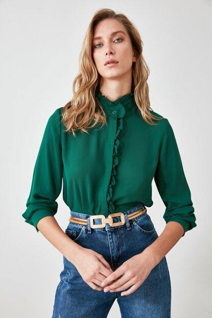 Women's Stand-up Collar Emerald Green Shirt - Colorful Wings