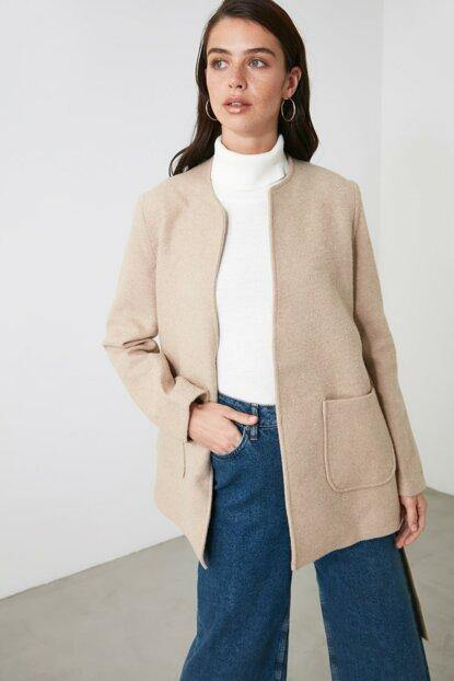 Women's Belted Beige Cachet Coat - Colorful Wings