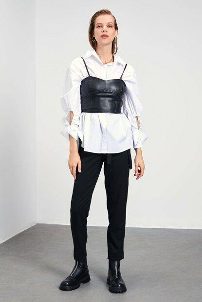Women's Strappy Black Blouse - Colorful Wings