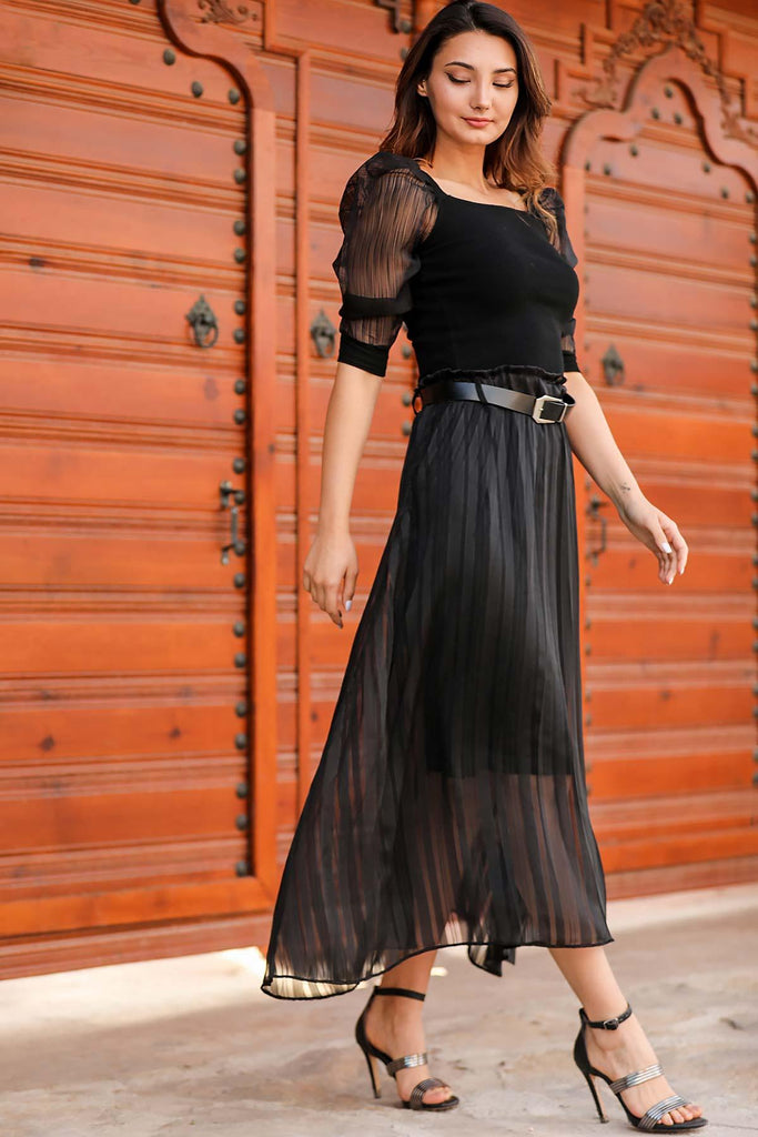 Women's Belted Pleated Black Midi Skirt - Colorful Wings