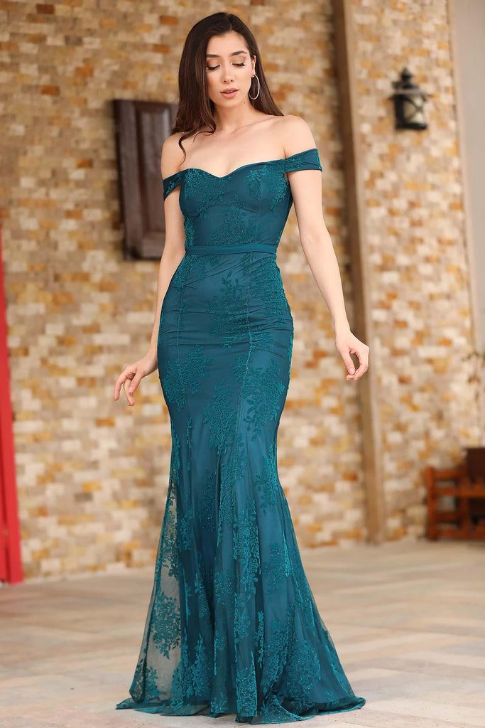 Boat Neck Petrol Blue Evening Dress - Colorful Wings