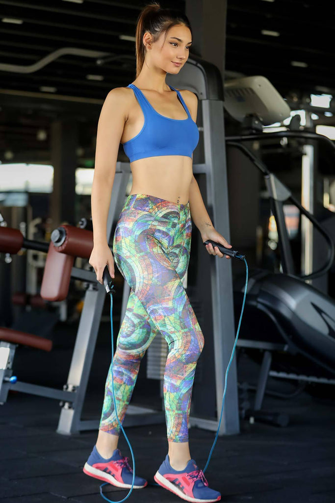 Women's Multicolor Pattern Green Tights - Colorful Wings