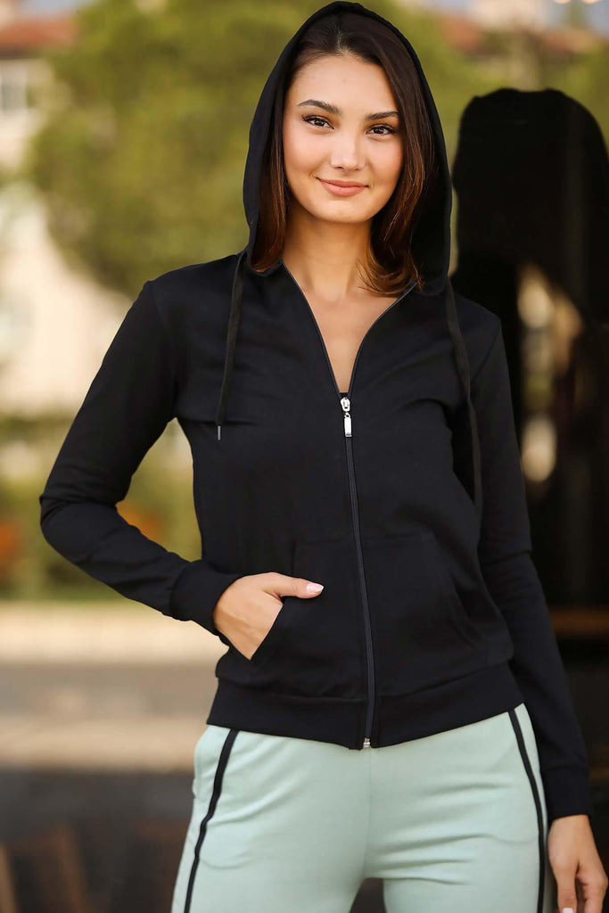 Women's Pocket Black Sweatshirt - Colorful Wings