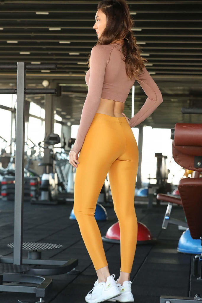 Women's Shiny Mustard Tights - Colorful Wings