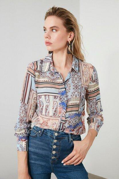 Women's Patterned Multi-color Shirt - Colorful Wings