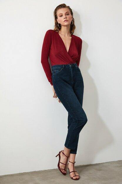 Women's High Waist Navy Blue Mom Jeans - Colorful Wings