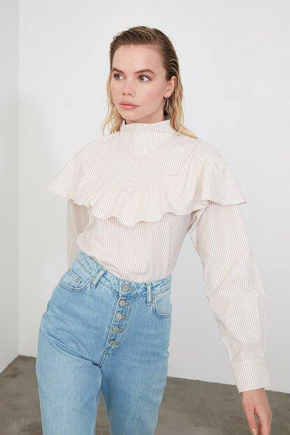 Women's Long Sleeves Frill Blouse - Colorful Wings