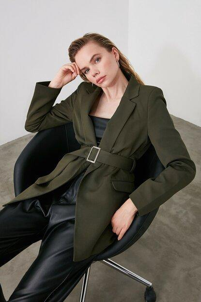 Women's Belted Khaki Jacket - Colorful Wings