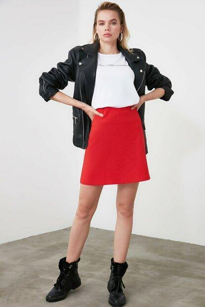 Women's Red Mini Skirt - Colorful Wings