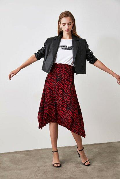 Women's Patterned Claret Red Asymmetric Skirt - Colorful Wings
