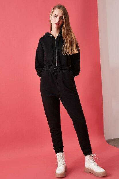 Women's Hooded Black Overall - Colorful Wings