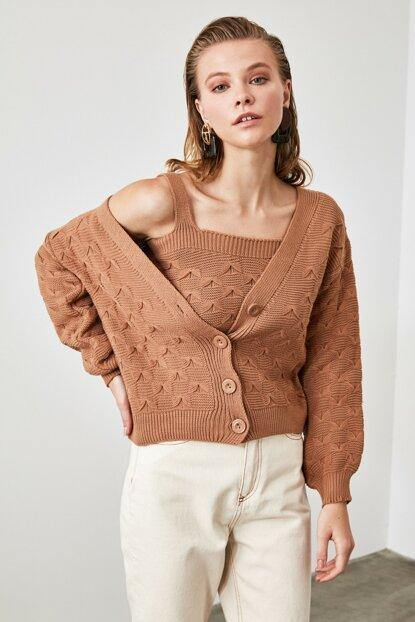 Women's Camel Tricot Blouse & Cardigan Set - Colorful Wings