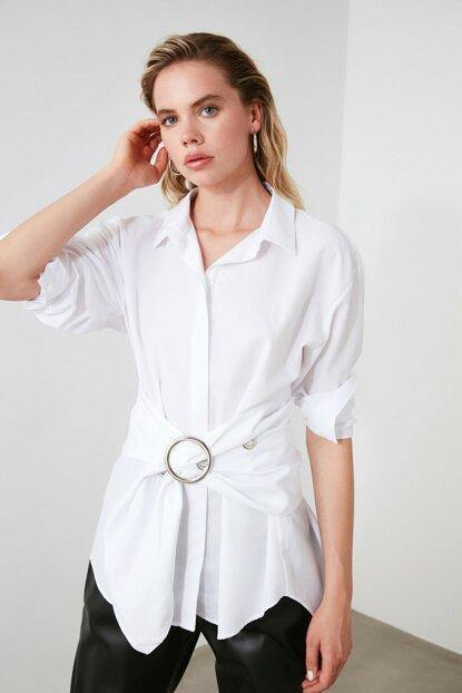 Women's Buckle White Shirt - Colorful Wings