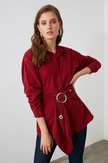 Women's Buckle Claret Red Shirt - Colorful Wings