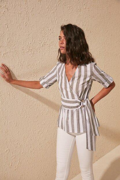 Women's Belted Striped Blouse - Colorful Wings