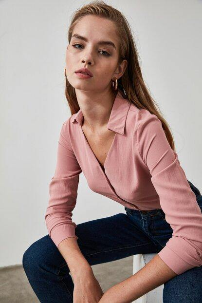 Women's Collar Detail Dusty Rose Shirt - Colorful Wings
