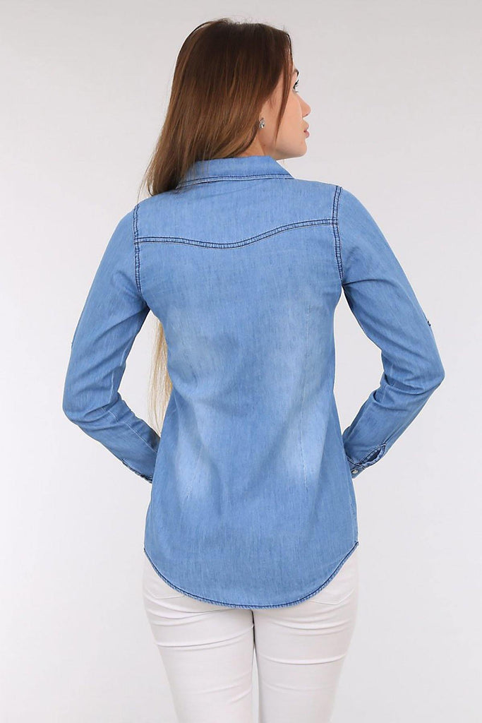Women's Pocket Snap Button Denim Shirt - Colorful Wings