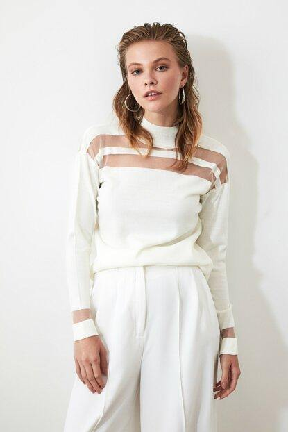 Women's Tulle Detail Ecru Tricot Sweater - Colorful Wings