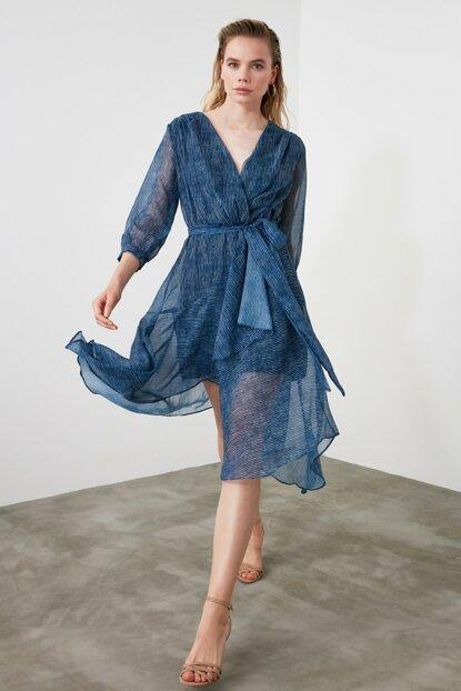 Women's Belted Striped Blue Dress - Colorful Wings