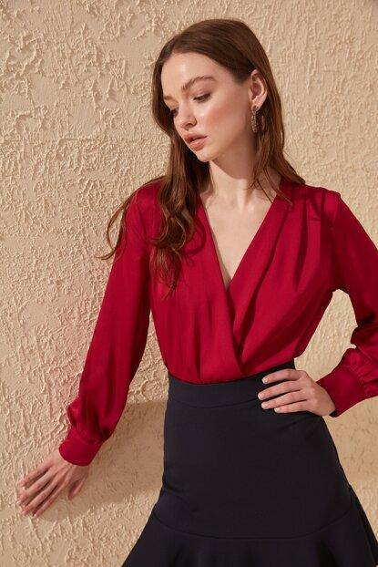 Women's Wrap Collar Claret Red Blouse - Colorful Wings