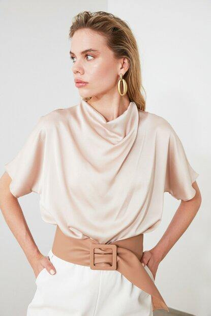 Women's Cowl Neck Beige Blouse - Colorful Wings