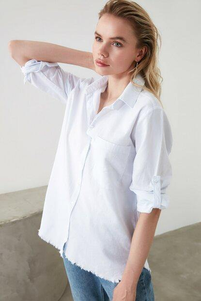 Women's Roll-up Sleeves White Shirt - Colorful Wings
