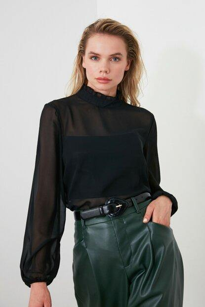 Women's Frill Black Organza Blouse - Colorful Wings