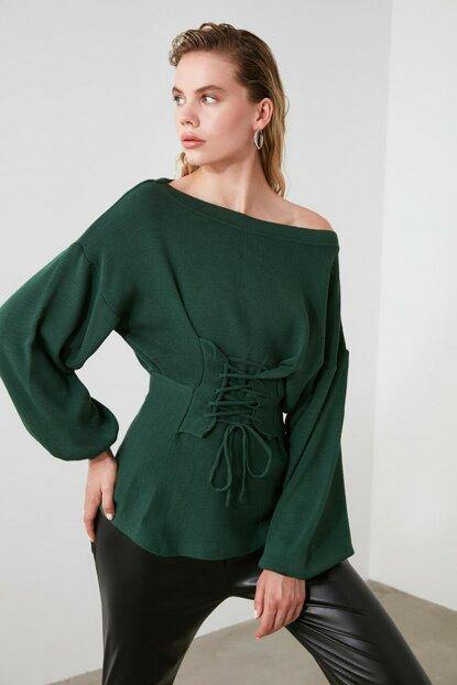 Women's Bodice Detail Green Tricot Sweater - Colorful Wings