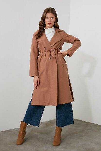 Women's Hooded Shirred Waist Camel Trenchcoat - Colorful Wings