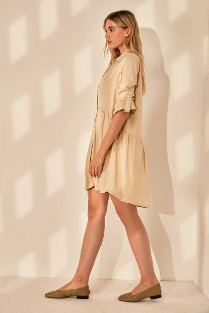 Women's Button Beige Shirt Dress - Colorful Wings