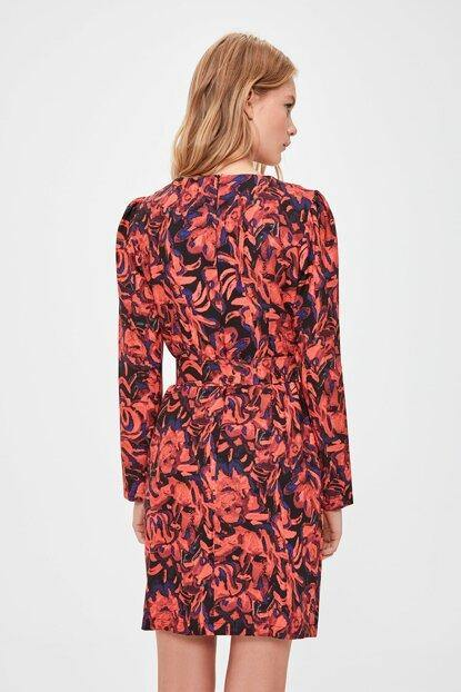 Women's Belted Patterned Red Short Dress - Colorful Wings