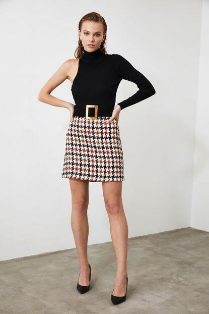 Women's Houndstooth Pattern Skirt - Colorful Wings
