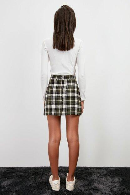 Women's Zipped Plaid Green Short Skirt - Colorful Wings