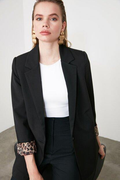 Women's Button Black Jacket - Colorful Wings