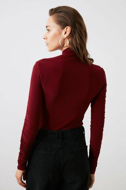 Women's Shirred Claret Red Blouse - Colorful Wings