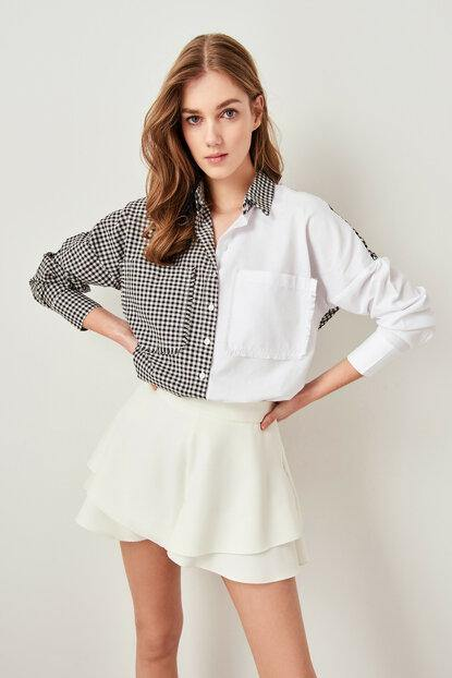 Women's Checkered White Shirt - Colorful Wings