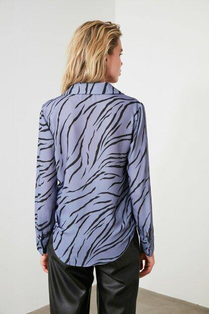 Women's Patterned Purple Shirt - Colorful Wings