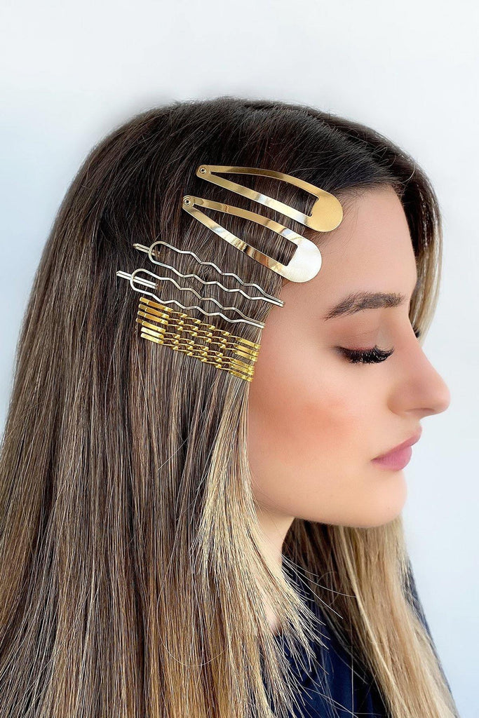 Women's Gold Hair Clips Set - Colorful Wings