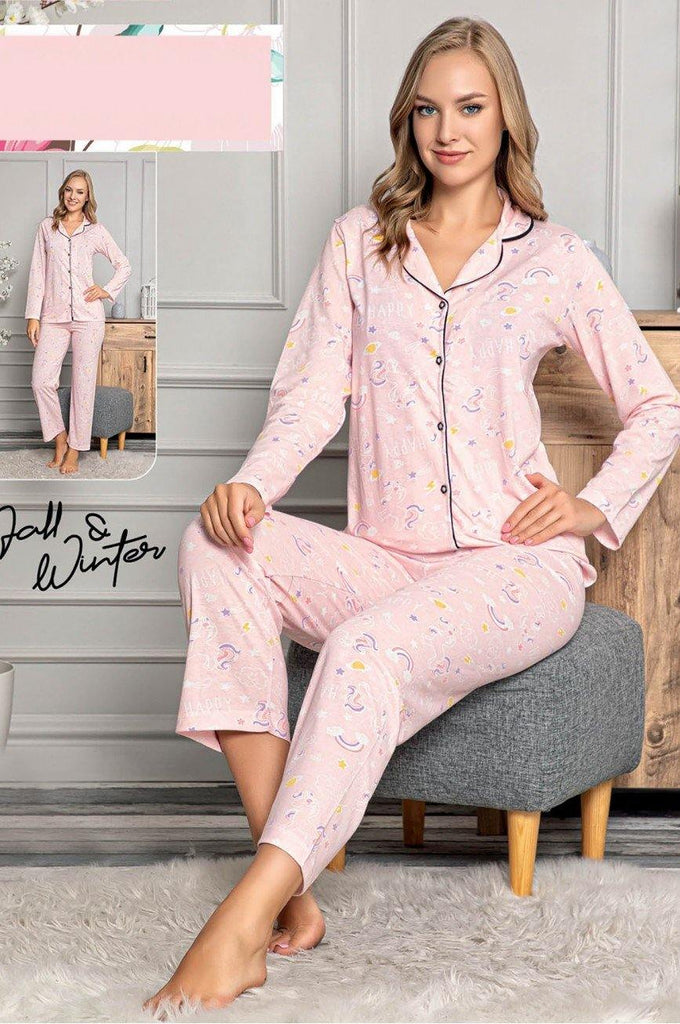 Women's Button Powder Rose Pajama Set - Colorful Wings