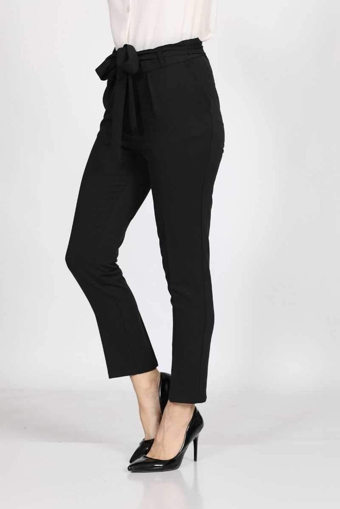 Women's Belted Black Fabric Pants - Colorful Wings