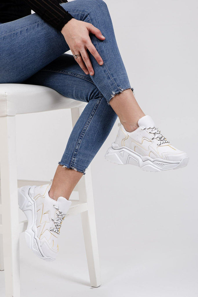 Women's White Sport Shoes - Colorful Wings