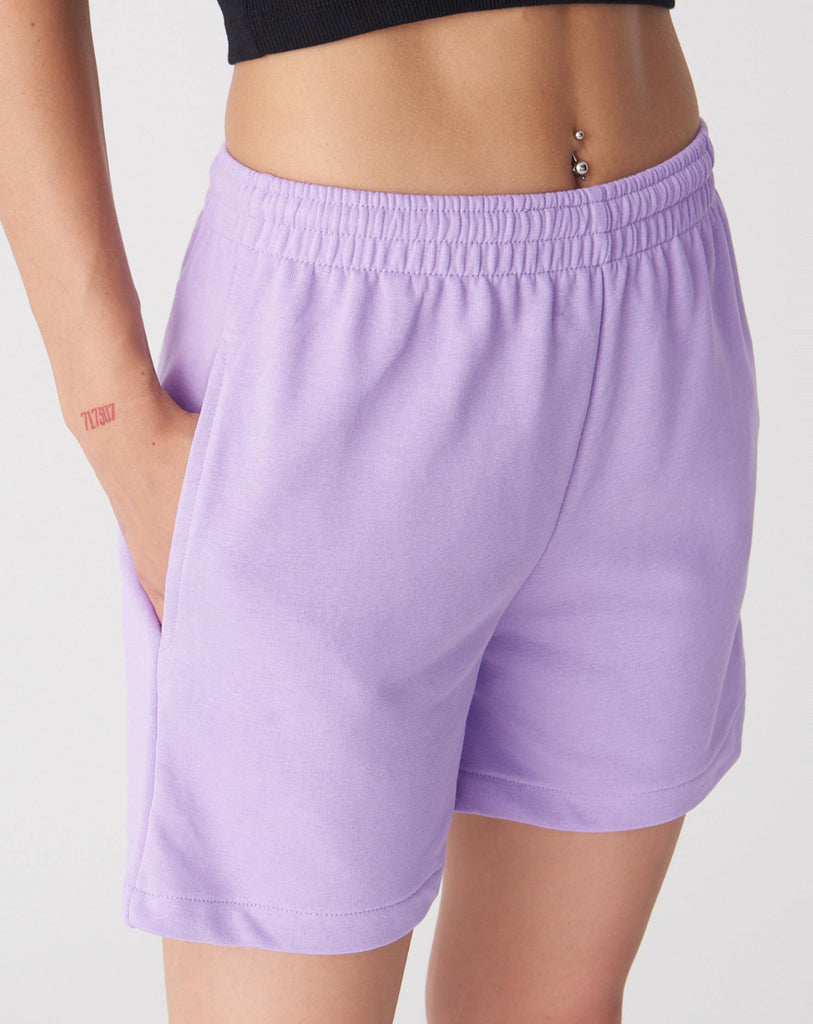 Women's Pocket Detail Lilac Shorts - Colorful Wings