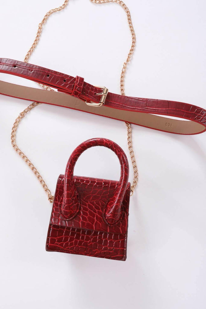 Women's Claret Red Mini Bag & Belt Set - Colorful Wings